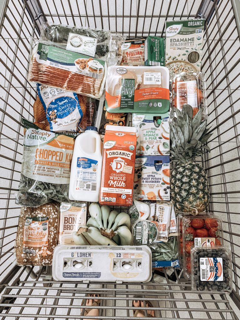 This is an example of what my cart looks like when I shop at Aldi on Sundays for my weekly meal prep.