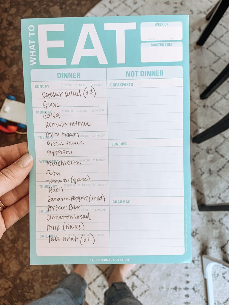 This is an example of my weekly meal prep grocery list.