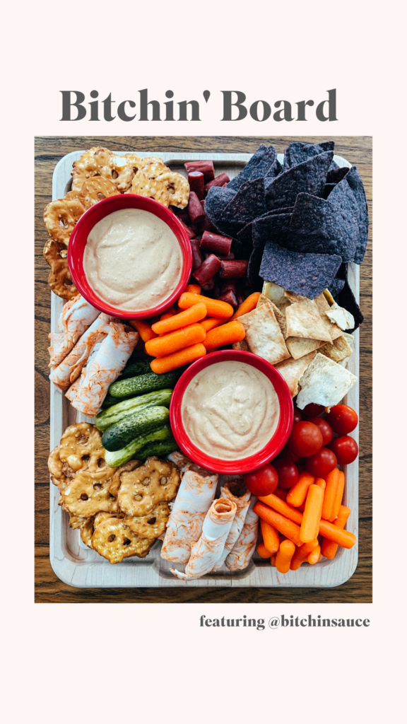 A charcuterie board made with Bitchin' Sauce!