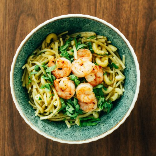 Buttery Noodles with Shrimp (and a Hint of Greens)